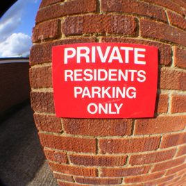 residents parking sign