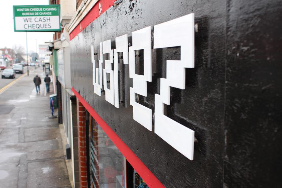 white lettering