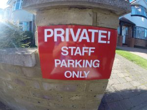 PRIVATE! STAFF PARKING ONLY, Sign
